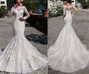 Mermaid Lace Wedding Dresses with Sheer Long Sleeves Appliqued Scoop Neckline Long Train Vintage Bridal Gowns