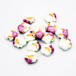 Estrella de cerámica 50 unids / lote multi colores impresión de perlas 15 mm surtido de porcelana granos del encanto para la joyería de DIY que hace
