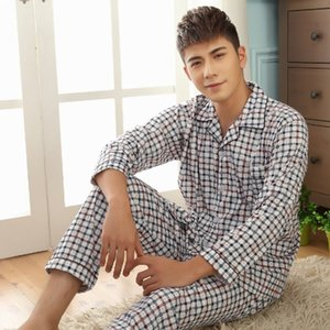 Thoshine Марка Весна Осень Зима мужчины 100% хлопок пижамы наборы сна топ брюки мужской пижамы повседневная домашняя одежда пижамы