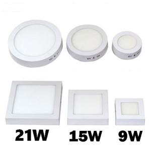 envío libre 9W 15W 21W 30W panel redondo / LED cuadrado de las luces de superficie montado en la lámpara de techo abajo luz LED SMD2835