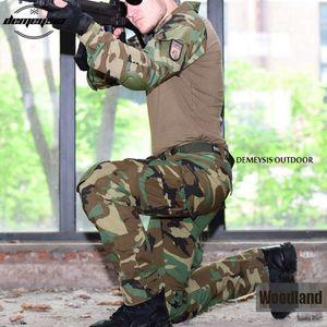 Traje de combate táctico de uniforme de ejército de camuflaje de bosque Camisa de vestir de traje de guerra + pantalones Cojines de rodilla de codo