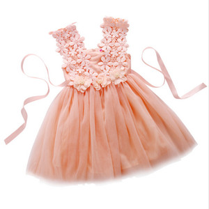 Lovely Baby Girls Dress Party Pizzo Tulle Flower Gown Fancy Damigella d'onore Vestiti per ragazze Little Girl Princess Tutu Gonna cotta di pizzo