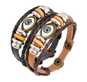 Evil Eye Wrap Brazaletes Braid Multilayer Leather Bangles Wristband Puños con Botones para Mujeres Hombres Pulsera Retro Punk Bracelet 2 Colors