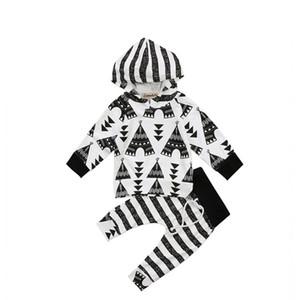 Emmababy 2Pcs Baby boy Conjuntos de ropa 2018 Toddler Baby Boy Girls Striped Hooded Hoodie Tops Sudadera + Pantalones conjunto de ropa