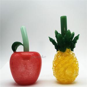 tuyaux colorés eau mignons fumer ananas tuyau pomme Heady tuyau main en verre pyrex cuillère barboteur accessoires somking cire rouge drôle de cadeau