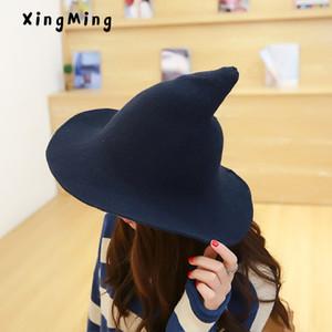 A lo largo de la gorra de lana de oveja tejer sombrero pescador qiu dong Moda femenina bruja puntiaguda cuenca cubo sombrero accesorios