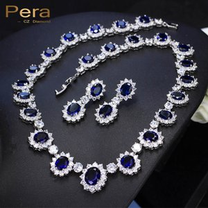 Pera CZ Big Round Cubic Zirconia  Bridal Wedding Royal Blue Stone Necklace And Earrings Jewelry Sets For Brides J126