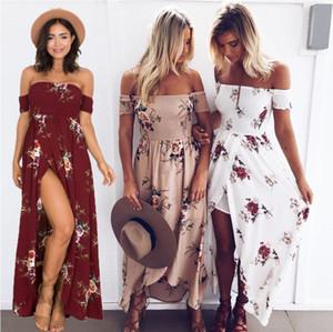CYWANGCANCAN Boho estilo longo mulheres Off ombro praia verão Floral print maxi dress
