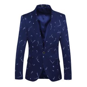 BROWON Brand 2018 Nuevos Hombres de la Llegada Blazer Tuxedo Imprimir Slim Fit Negocio Mens Casual Estilo Coreano Ropa Hombres
