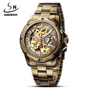 Mechanical Watches Retro Brand Skeleton Mens Gift Sport Stainless Steel Automatic self wind Men's Watch relogios masculino 2017 C18111601