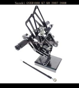CNC Ajustable Motocicleta Rearset Foot Pegs Rear Set Footrests Fit para Suzuki GSXR1000 2007-08 K7 K8