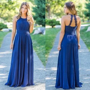 Country Style Chiffon Bridesmaids Dresses 2018 Halter Neck Summer Garden Backless Pleats Long Maid of Honor Gowns Custom Made