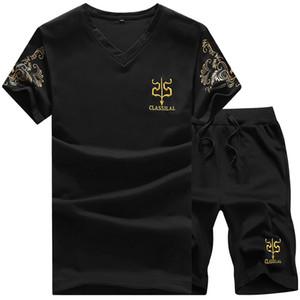 T-Shirt Sport T-Shirt da Uomo Stampa Semplice con Stampa Scollo a V T-Shirt 2 Pezzi Pantaloncini sportivi Tuta Completa Set 4 Colori Seleziona Taglia (M-5XL)