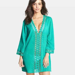 Atacado e novo estilo elegante blusa de renda de biquíni oco - out lace profundo V - gola sexy vestido de praia