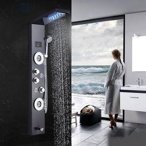 욕실 샤워 수도꼭지 LED 폭포 비 샤워 패널 마사지 제트기 욕조 샤워 열 믹서 수도꼭지 바