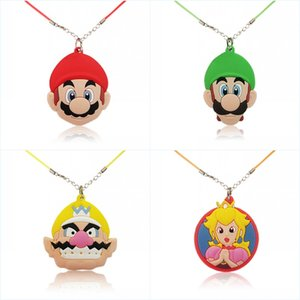 Super Mario Bros Hot Sale Cartoon Necklace Lovely PVC Pendants Charm+51cm Chain Kids Accessories Best Birthday Gift Party Supplies