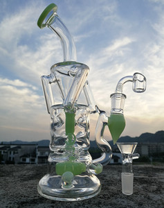 새로운 도착 유리 물 파이프 퍼시픽 퍼크 보라색 녹색 유리 봉 14.4mm 남성 관절과 유리 Recycler 오일 버너 오일 dabbers
