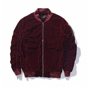 Winter Warm Fashion Bomberjacke FEAR OF GOD Langarm Solid Black Wine Red Herren Jacken mit Reißverschluss