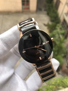 Qaurtz Moda preto das senhoras do relógio de cerâmica Unisex Relógios Lady homens famosos do Modern Casual 37mm Mens Sport Watch