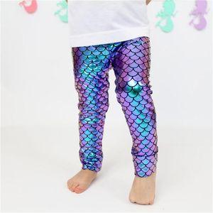 filles sirène Gradient Leggings bébé poisson échelle collants bébé sirène long pantalon mode brillant échelle imprimer collants