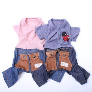 Pet Dog Dress Jumpsuit Shirt Denim Pockets Cat Puppy Vest Pants pet clother for summer New Arrival