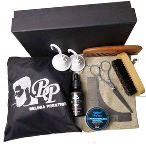 OEM 7 pcs Varas de Escova de Barba Cerdas de Varrão e Pente Grooming Kit Set para Homens Barba Cuidados Cera Bolso De Madeira Bigode para Kit de Barbear