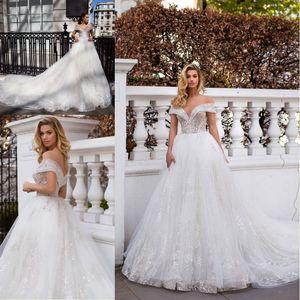 2020 lindo Milla vestidos de casamento Nova Off the Luxury ombro completa Wedding o laço nupcial frisada Dubai Árabe Vestido Custom Made