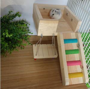 3 teile / satz Holz Pet Ratte Hamster Spielzeug Leiter Schaukel Hockt Plattform Eichhörnchen Spielzeug Für Chinchilla Gerbil Rat Käfig Zubehör