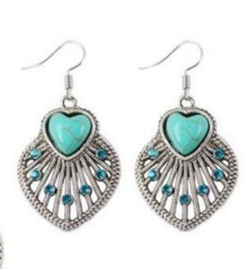 1Set Pendant Earrings Turquoise Chain Necklace Elegant Women Fashion Jewelr L