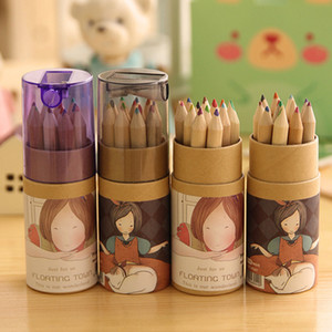 12 unids / set Coloring Pencils Kids Colored Drawing Pencils Regalo de Niños Plumas de Pintura de Color madera