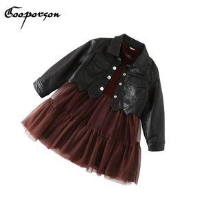 GOOPORSON дети девушка платье зима толстые платья и кожаные куртки 2 шт. мода платье для девочек одежда детские наборы