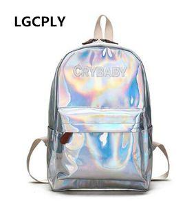 NUOVE lettere ricamo Harajuku Lettere Crybaby Hologram Laser Backpack Donne Morbide borse in pelle Schoolbag Schoolbag