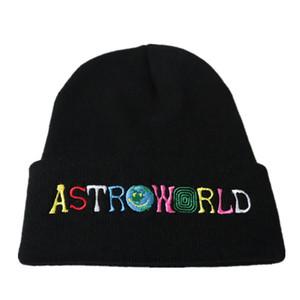 Новый Travi $ Скоттс Beanie AstroWorld Knit Cap Вышивка AstroWorld Горнолыжная Теплая зима мужской Travis Скоттс лыжный Skullies Beanie