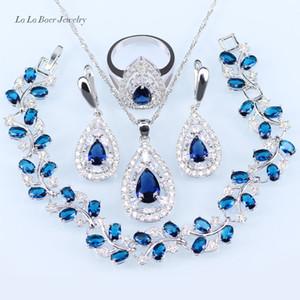 LB Fashion silver Couleur 925 Parures Bleu Zircon Blanc Cristal Feuille Bracelets / Pendentif / Collier / Boucles D'oreilles / Bague