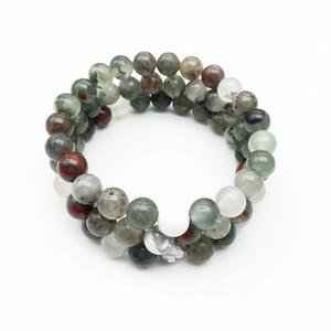 8mm africano Bloodstone, braccialetto della pietra preziosa, Bianco Howlite, braccialetto elastico, il braccialetto in rilievo Good Luck Bracciale