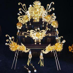 عرائس ، أزياء صينية تقليدية ، طاووس طائر الفينيق ، فستان كعب ، هامش ذهبي ، فساتين زفاف ، زينة زفاف.