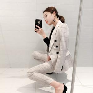 Pamuk Keten Kadın Pantolon ince Suit ceketler Ofisi Bayanlar resmi Pantolon Çalışma aşınma 2 adet set Suit 2018 Kadınlar iş Suits