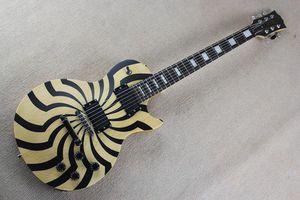 2015 nuova qualità superiore strumenti musicali personalizzati ZAKK wylde chitarra elettrica legno naturale giallo + nero mulino 930 colore