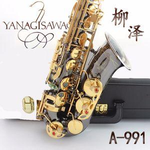 Professionnel Japon Yanagisawa A-991 Corps Plaqué Or Noir Plaqué Or Key Alto Mib Saxophone Laiton Instruments Musique E Flat Saxofone