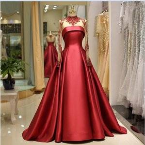 2019 сексуальный красный бисером высокой шеи выпускного платья настроить длинные рукава элегантные вечерние платья-линии длиной до пола Формальное платье партии 63695
