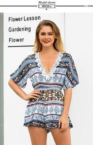 Frauen Sommer Casual V-Ausschnitt Floral Printed Short Sleeve Short Pullover und Strampler gefälschte Kleider Club Suit