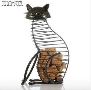 Tooarts Metal Cat Figurines Vino Cork Contenedor Estilo Moderno Arte de Hierro Regalo Animal Artificial Mini Decoración Del Hogar Accesorios