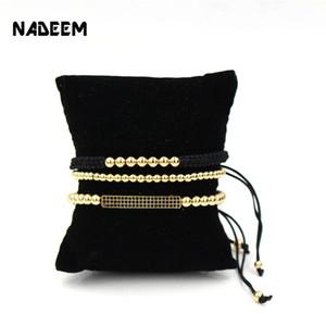 NADEEM Anil Arjandas 3Pcs / Sets Pave de Homens Definir Preto CZ Bar Pulseira com 5mm de cobre Bead trança Macrame Bracelet Set