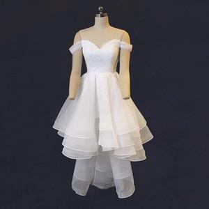 Photo réelle haute robe de mariée courte à l'épaule en dentelle organza une ligne courte devant long dos robes de mariée sur mesure
