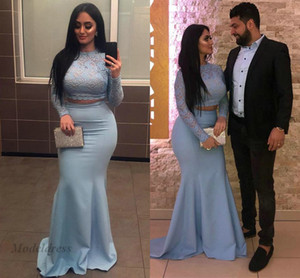 Light Blue Due pezzi Prom Dresses con maniche lunghe Lace Top Mermaid Elastico Satin Floor Length Sexy Arabian Evening Gowns Formal