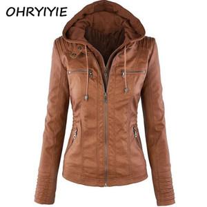OHRYIYIE Plue Size 7XL Chaqueta de cuero Mujer 2018 Otoño Invierno Abrigos Abrigo Lady PU Leather Clothing Chaquetas de moto mujer