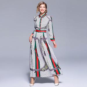 Imprimir Vintage Autumn Maxi Vestido 2018 Mulheres Partido Retro longa Dames Vestido Robe Longue Femme