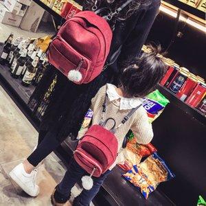 2018 mère et fille sacs assortis mignonne bande de velours sac à dos coréenne mode ball épaule sac taille libre pour les filles 4 couleurs
