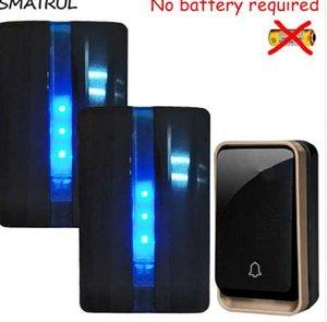 SMATRUL 자체 전원 방수 무선 DoorBell 배터리 없음 EU 플러그 홈 도어 벨 1 버튼 2 수신기 110V 220V LED 조명 청각 장애인