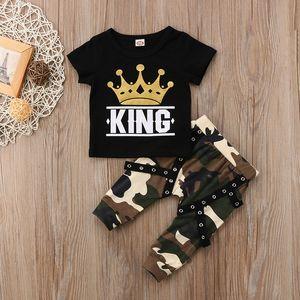 Manga de la manera del niño recién nacido de los niños del bebé de la ropa del cortocircuito de la corona Imprimir REY camiseta tops + camuflaje Harem Pant 2PCS Equipos